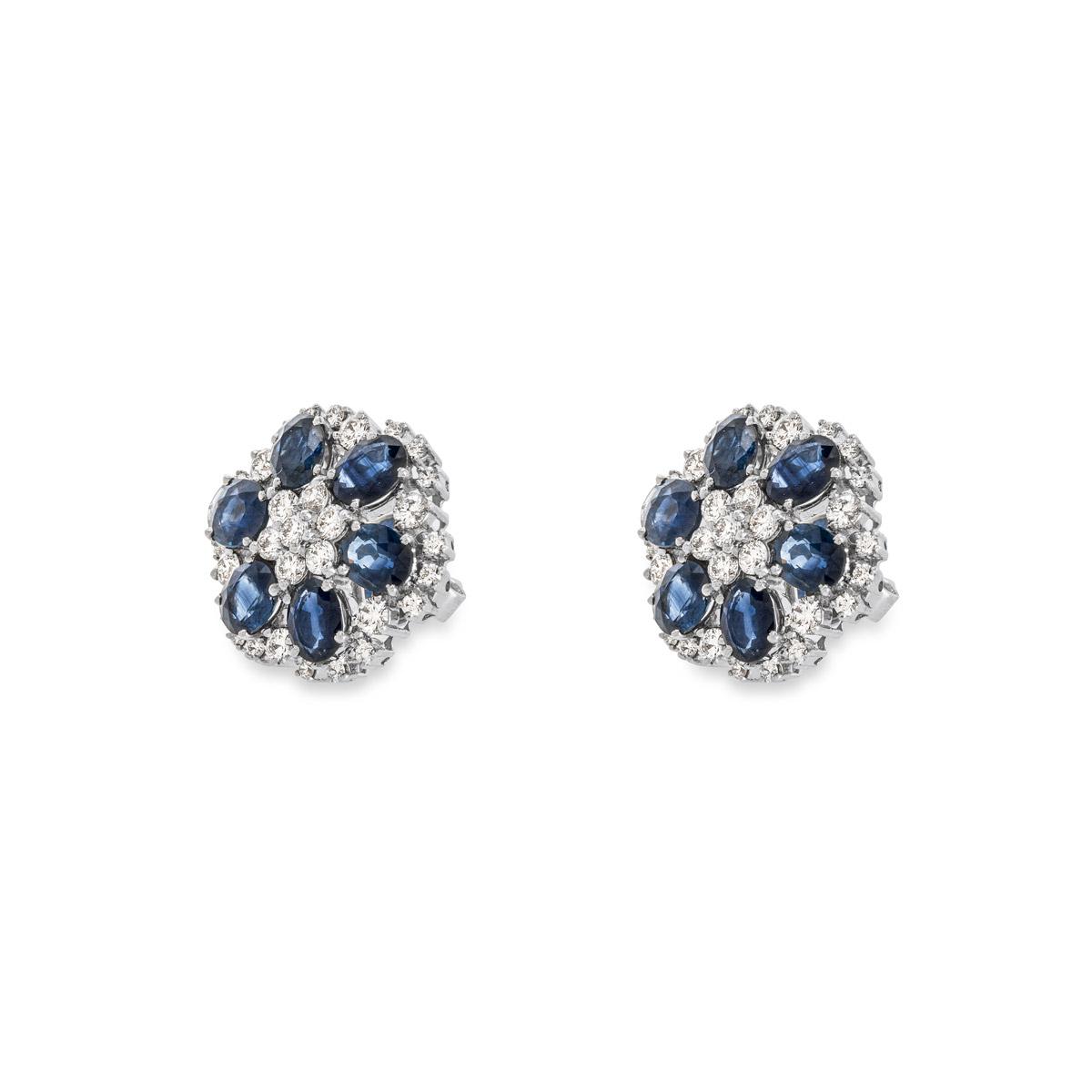 White Gold Diamond and SapphireEarrings